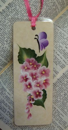 Hand Painted Bookmark with Pink Spring Flowers by bunnyhutchdesigns, $4.50