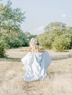Light Blue Wedding Dress for a Field Photo Session