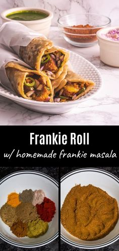 Frankie Recipe (Bombay Veg Frankie Roll) - Spice Up The Curry - - This easy Indian veg frankie roll recipe is one of the TASTIEST ways to enjoy street food. It is called 'Indian burrito' or 'Bombay burrito' or 'Indian wrap'. Aloo Gobi, Chapati, Mumbai Street Food, Indian Street Food, Indian Veg Recipes, Indian Snacks, Chaat Recipe, Masala Recipe, Veg Frankie Recipe