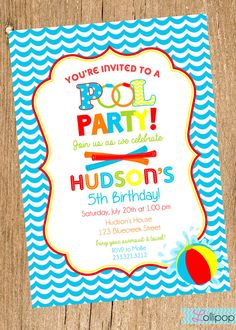 Pool Party Invitation Summer Birthday Summer Party Birthday
