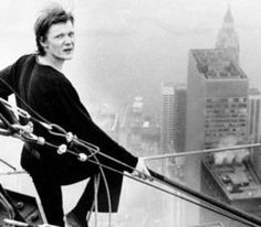 "On Wednesday, 7 August 1974, shortly after 7:15 a.m., Philippe Petit stepped off the South Tower and onto his 3/4"" 6×19 IWRC (independent wire rope core[6]) steel cable. He walked the wire for 45 minutes, making eight crossings between the towers, a quarter of a mile above the sidewalks of Manhattan."