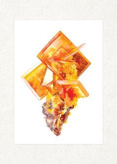 Wulfenite Cluster 5 x 7 Watercolor Art Print by songdancedesign