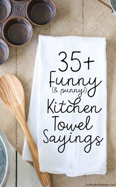 Funny Kitchen Towel Sayings for Crafters - Cutting for Business List of funny kitchen sayings for crafters to use when making tea or flour sack towels with heat transfer vinyl or screenprinting. Great if you have a Silhouette Cameo or Cricut Explore. Les Artisans, Cricut Tutorials, Cricut Ideas, Cricut Craft, Cricut Vinyl Projects, Cricut Air, Card Tutorials, Sewing Tutorials, How To Make Tea