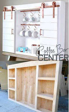 DIY Coffee Bar Center perfect for the Home Kitchen with Copper Barn Hardware