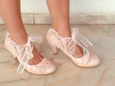 "Wedding Shoes - Bridal Shoes Embroidered Blush Lace with Pearls and Ribbons, 2 3/4""Heels"