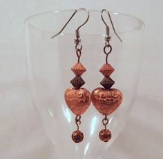 Copper Heart Earrings  Dangle Drop Earrings Beaded by LaBelleBead