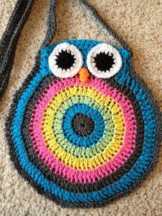 Angelas Crafts: Owl crochet purse - Bolso de búho en crochet