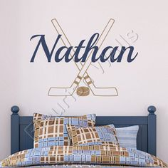 Hockey Wall Decal Personalized With Name Hockey Sticks And Hockey Puck Athletic Sports Vinyl Wall Decal Boys Room Wall Art 22H x 32W BN027 via Etsy