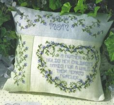 Cross Stitch Pattern Forget Me not Flowers Mother Pillow Mothers Day Tribute | eBay