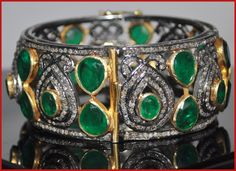 "Signature Victorian Collection....known for its international taste and appeal!    ""Mortifero""...only $2,280 or P100,320!! 36.20ctw ROSE CUT DIAMOND & EMERALD BRACELET/BANGLE ! Imported, world-class quality, not pre-owned, not pawned, not stolen. We deliver worldwide ♥"