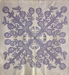 Roses Quilt, Hawaiian (Late 19th/early 20th Century). There are two- and four-fold symmetries of roses and stems.