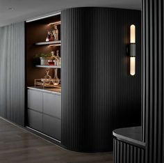 Luxury Interior, Modern Interior, Interior Architecture, Bar Sala, Home Bar Areas, Shelving Design, Home Bar Designs, Curved Walls, Dark Interiors