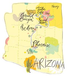#map #illustration ©Katy Dockrill #Arizona