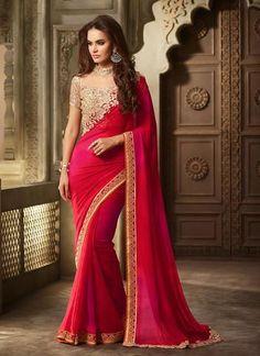 Red Lace Work Online Saree Shopping Designer Dress ,Indian Dresses - 1