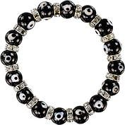Bracelet Evil Eye Protection - This stylish elastic evil eye bracelet is made with black evil eye beads alternating between antique silver-toned beads. This is a very hip bracelet sure to please the most discriminating. Each bracelet has been attached to an Evil Eye Amulet card which describes the protective powers of this talisman.