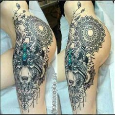 Wolf Tattoo – TOP 150 Wolf Tattoos bisher in diesem Jahr – Tattoo Ideen – Tattoo Ideen Hip Thigh Tattoos, Side Tattoos, Body Art Tattoos, Easy Tattoos, Awesome Tattoos, Wolf Tattoo Design, Tattoo Designs, Tattoo Wolf, Lotus Tattoo