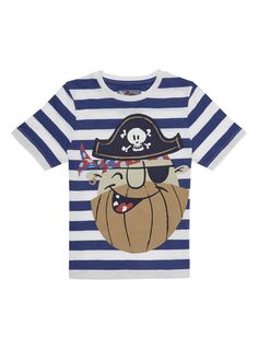Featuring a bold pirate print, this T-shirt will make a versatile addition to his wardrobe. Cut with a crew neck and short sleeves, they can be worn with everything from shorts to chinos.  Boys multicoloured pirate print t-shirt Pirate print Crew neck Short sleeves Keep away from fire