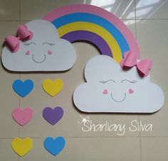 Rainbow panel rain of love ! Kids Crafts, Preschool Crafts, Diy And Crafts, Arts And Crafts, Paper Crafts, Class Decoration, School Decorations, Birthday Decorations, Decorate Notebook
