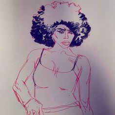 """#sketch #drawing of @deviantart user """"madqueen-stock"""" in Muji and Pentel pens from some months ago. #art #afro"""