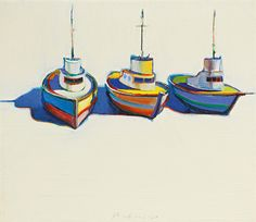 """Wayne Thiebaud """"Three Boats"""" 1966 I saw this in person today at the museum at U of O.  Made my day!"""