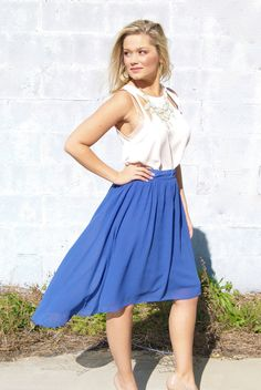 high/low skirt in royal