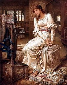 8x10 Print Medieval Witch Elaine Lady Shalott Arthurian Legend Camelot Weaver | eBay