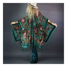 """Rock n' roll gypsy lovers dream!  Insanely gorgeous emerald green English floral burnout velvet!  Beautiful iridescent beads all over pattern to add extra magic!  Entire bottom has fishnet fringed tassels covered in beads as well.  So many ways to wear and style...dressed up or down..a timeless and effortless piece to treasure for years to come! One size fits allRayon/Silk Burnout VelvetDry Clean The velvet burnout process, or """"Dévoré"""" as it is also referred,..."""