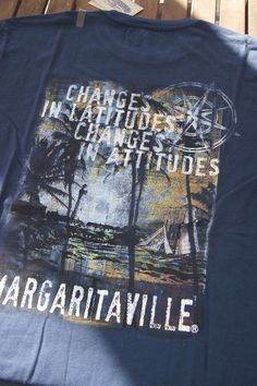 M,L,XL~JIMMY BUFFETT MAGARITAVILLE MENS T SHIRT BLUE BUFFET GRAPHIC TOP~NWT  #MARGARITAVILLE #GraphicTee