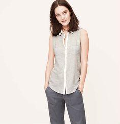 Sleeveless Button Down Shirt | Loft