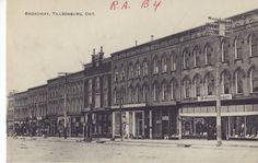 Downtown Tillsonburg. Postcard mailed in 1915.