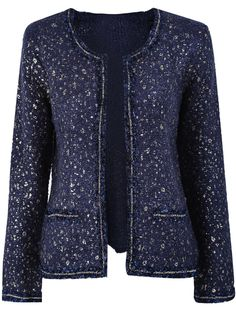 Navy Long Sleeve Chain Embellished Pockets Outerwear US$35.08