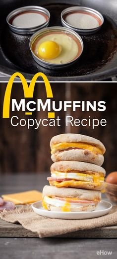 Craving McDonald's McMuffin with canadian bacon? Make your own version at home that is better than the original (fresh, not frozen) easily! Breakfast of champions made at home makes it really special! Bacon Recipes, Copycat Recipes, Gourmet Recipes, Cooking Recipes, Egg Recipes, Frozen Breakfast, Bacon Breakfast, Breakfast Recipes, Breakfast Ideas