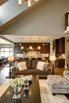Love the open floor plan with the kitchen, living room and dining room.