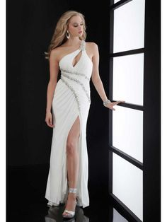 Sexy Sheath One Shoulder Long Prom Evening Formal Dresses Bridal Gown 2201003