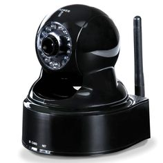 This is the security camera that allows you to monitor your home from a smartphone. The camera sets up anywhere in a home and transmits realtime video over the Internet to an iPhone or Android-driven smartphone. A website allows you to pan the camera up to 270º and tilt it up to 125º for optimal remote positioning.