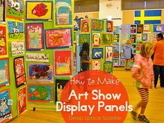 Art Show 101 and Guidebook. How to make art show display panels. Every art teacher has a different approach to their art show. But if you want help, do you know how to get it? Art Display Panels, Display Boards, Display Ideas, Display Shelves, Middle School Art, Art School, Art Room Doors, Art Bulletin Boards, Deep Space Sparkle