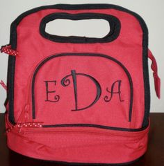 Monogrammed Insulated Lunch Tote by FleurDeLisEmbroidery on Etsy https://www.etsy.com/listing/197227897/monogrammed-insulated-lunch-tote