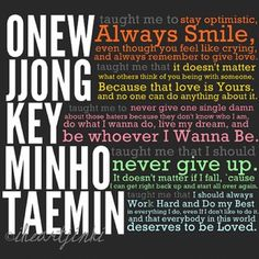 Shinee~ only kpoppers will know the people, but they do have valuable ideas to live your life to the fullest!! (Ps, 2min are my biases to all the kpoppers!!<3)