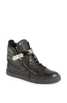 """Free shipping and returns on Giuseppe Zanotti Studded High Top Sneaker (Women) at Nordstrom.com. <p><B STYLE=""""COLOR:#990000"""">Pre-order this style today! Add to Shopping Bag to view approximate ship date. You'll be charged only when your item ships.</b></p><br>A street-savvy high-top cast in smooth leather turns heads with polished cone studs and a gilt bar across the laces."""