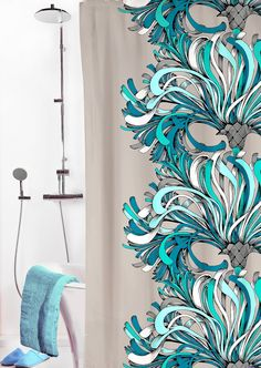 Vallila Interior Lempi shower curtain turquoise by Saara Kurkela Scandinavian Living, First Home, Cool Patterns, Home Textile, Design Inspiration, Curtains, Turquoise, Texture, Artwork