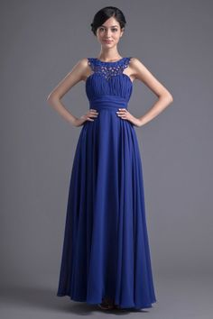 Blue tone Vintage Natural waist Backless Pleats Nuptial guests dress