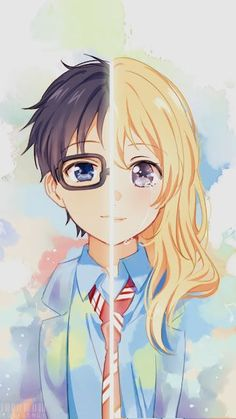 Arima Kousei and Miyazono Kaori - Your lie in April / Shigatsu wa Kimi no Uso Anime Chibi, Kawaii Anime, Manga Anime, Anime Love, Me Me Me Anime, Anime Fan Art, Awesome Anime, Your Lie In April, Wallpaper Animes