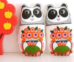 Screen printed handmade toy Panda plush with 70s by Janefoster, $18.80