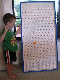 """SINGING TIME IDEA: Build a plinko board!  Inexpensive and categories at the bottom could include """"choose a song,"""" """"choose how to sing a song (opera style, robot style, etc),"""" or """"quick song in a bag,"""" where they sing a familiar song really quickly and I have to pull out all the props from a bag at the right time in the song."""