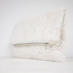 Nude lace clutch fold over lace clutch shabby chic by meshkadesign