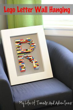 A Lego Letter Wall Hanging. Only because we have an obscene amount of lego!