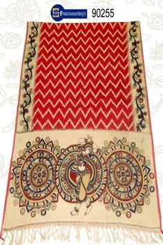 #kalamkari ikkat #dupattas Code: 90225 Price: 1650/- ( bulk buyers / wholesale / boutiques / Retail shops for trade inquiries please contact our whatsapp no 8801302000)
