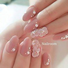 Nail Shapes - My Cool Nail Designs Simple Wedding Nails, Wedding Nails Design, 3d Nail Designs, Bridal Nail Art, Floral Nail Art, Nail Art 3d, Kawaii Nails, Bride Nails, Nail Art Rhinestones