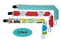 Boy Pacifier Clip Holder, (3 Pack) BONUS (1) Baby Bandana Drool Bib (design my vary) (Boy)