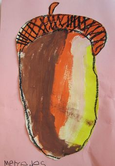 Georgetown Elementary Art Blog » Blog Archive » Acorn Art...could teach texture for the acorn cap- bring in actual acorns. Talk about warm colors and neutrals, teach how to hold and use a paintbrush correctly.